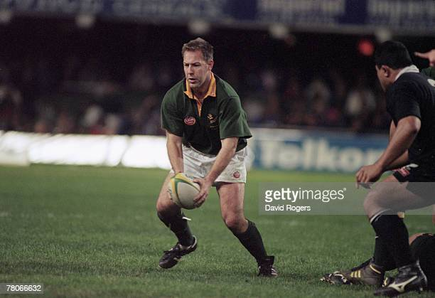 South African rugby player Johan Roux in action for his country against New Zealand during the First Test of the All Blacks tour of South Africa 17th...