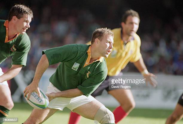 South African rugby player Johan Roux in action for his country against Romania during the Rugby World Cup in Cape Town 30th May 1995