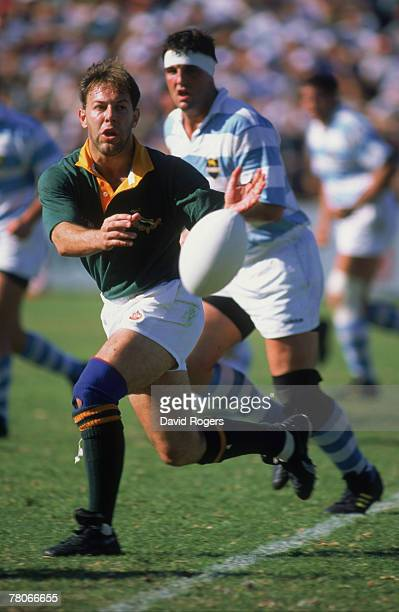 South African rugby player Johan Roux in action for his country during the Frist Test against Argentina 8th October 1994