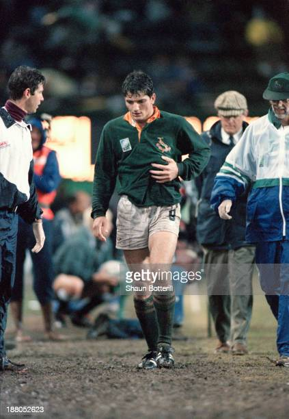South African rugby player Joost van der Westhuizen leaves the pitch with broken ribs during a pool stage match against France in the Rugby World Cup...