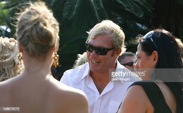 South African rugby player Schalk Burger attends Butch James and Julia Westbrook's wedding at Lynton Hall on 5 February 2011 in Pennington on the...