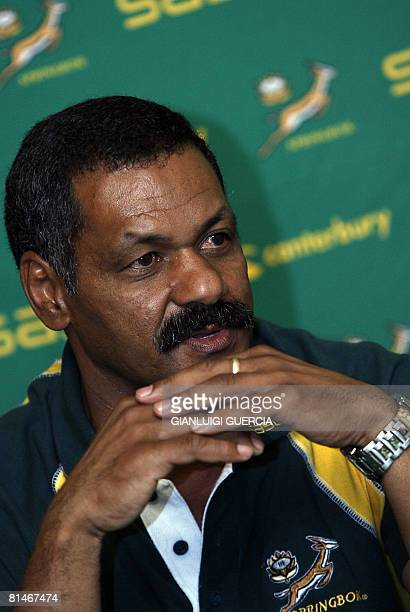 South African rugby union national team Head Coach Peter De Villiers gives a press conference on June 06, 2008 at the Southern Sun Hotel in...