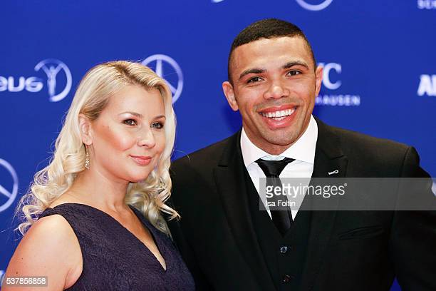 South African rugby union player Bryan Habana and his wife Janine Viljoen attend the Laureus World Sports Awards 2016 on April 18 2016 in Berlin...