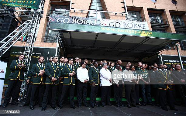South African Rugby Union players pose on September 1 2011 in Johannesurg during the offial sendoff for the springboks to New Zealand South Africa...