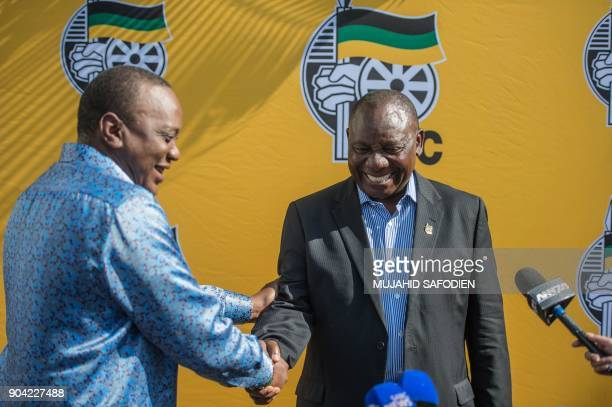 South African ruling party African National Congress President Cyril Ramaphosa and Kenya President Uhuru Kenyatta meet during a press briefing on the...