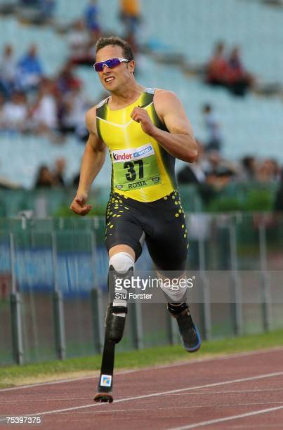 South African runner Oscar Pistorius on his way to winning the Mens 400m 'B' race during the IAAF Golden Gala at The Olympic Stadium on July 13, 2007...