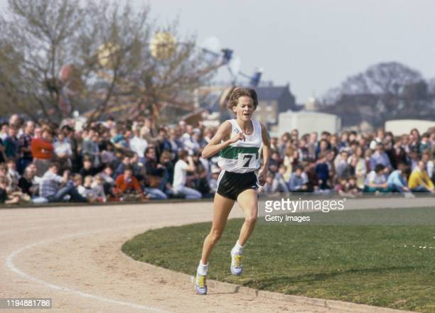 South African runner Zola Budd is shown here in action on her way to winning her her first race in Britain, Budd, recently awarded British...