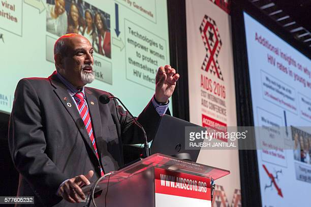 South African scientist epidemiologist and Director of Centre for the Aids Programme of Research Professor Salim Abdool Karim gestures as he delivers...