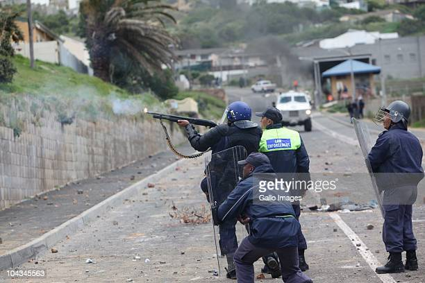South African shoot at protestors after violence broke out in Hout Bay near Cape Town South Africa on 21 September 2010 when community members...