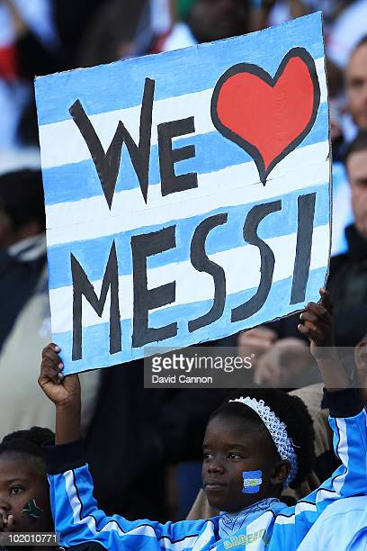 South African shows her support for Lionel Messi and Argentina during the 2010 FIFA World Cup South Africa Group B match between Argentina and...