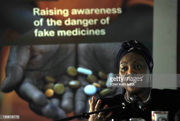 South African singer and UN envoy for Africa Yvonne Chaka Chaka gives a press conference during the launch of a campaign to fight counterfeit...