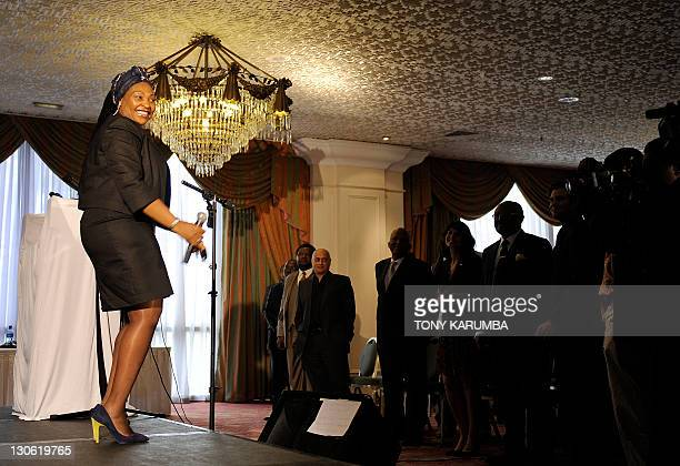 South African singer and UN envoy for Africa Yvonne Chaka Chaka performs during the launch of a campaign to fight counterfeit medicine in Africa on...