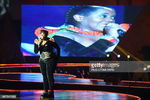 South African singer Busiswa Gqulu dance during the All Africa Music Awards in Lagos on November 15 2015 The yearly All Africa Music Awards in...