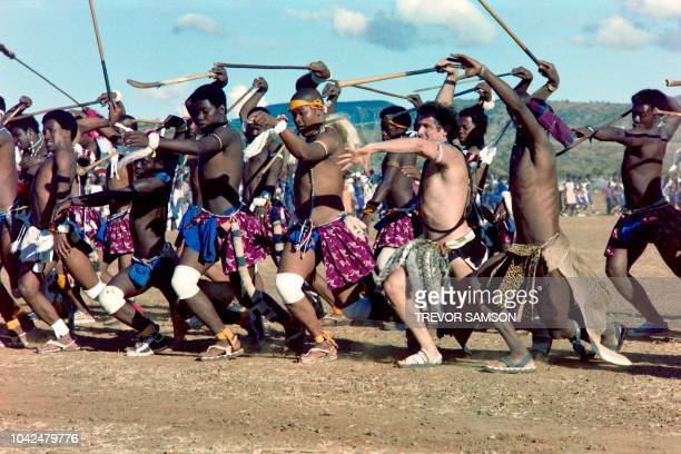 South African singer Johnny Clegg joins in a dance ceremony at his traditional Zulu wedding to Jennifer Bartlett on March 26 1989 in the Natal...