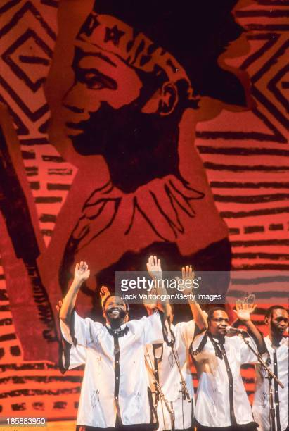 South African singer Joseph Shabalala and his a cappella group Ladysmith Black Mambazo perform at the Apollo Theater New York New York October 22 1988