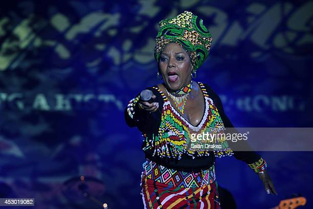 South African singer Lorraine Klassen performs during the opening night of the Emancipation Village at the Queen's Park Savannah on July 31 2014 in...