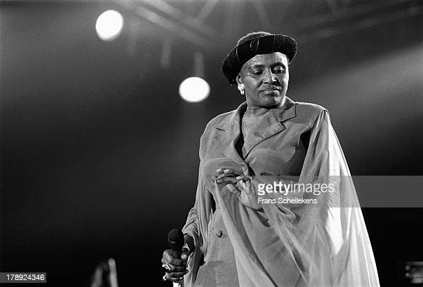 South African singer Miriam Makeba performs at Vredenburg in Utrecht, Netherlands on 20th May 1989