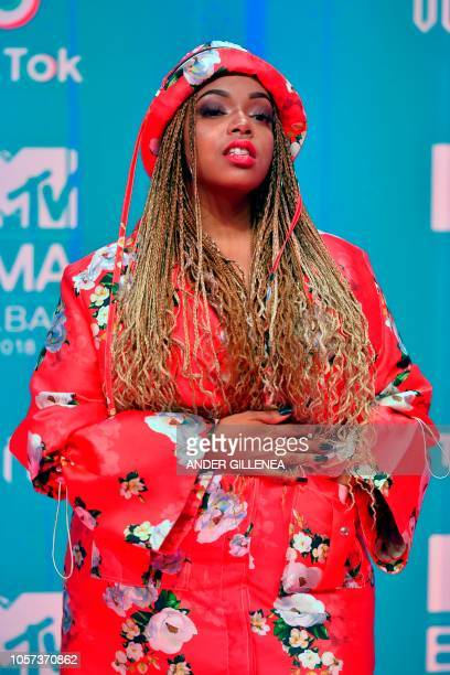 South African singer Shekhinah poses on the red carpet ahead of the MTV Europe Music Awards at the Bizkaia Arena in the northern Spanish city of...