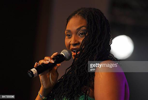 South African singer Yvonne Chaka Chaka entertains the audience during the GLOCAF Awards in Lagos on February 10 2009 The Confederation of African...
