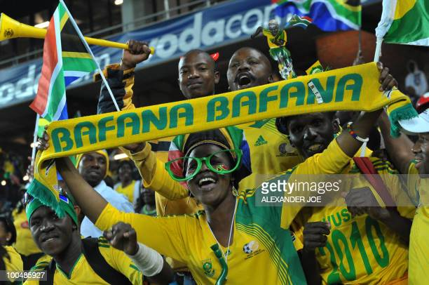 South African soccer fans have fun during the friendly football match between South Africa vs Bulgaria at Orlando Stadium in Soweto on May 24, 2010...