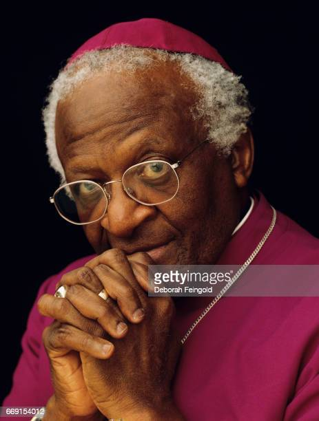 South African social rights activist author and archbishop Desmond Tutu poses for a portrait in 1999 in Baltimore Maryland