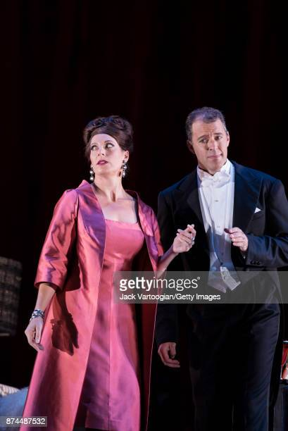 South African soprano Amanda Echalaz and Canadian tenor Josef Kaiser perform at the final dress rehearsal prior to the US premiere of 'The...