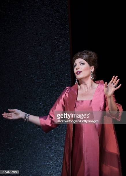 South African soprano Amanda Echalaz performs at the final dress rehearsal prior to the US premiere of 'The Exterminating Angel' at the Metropolitan...