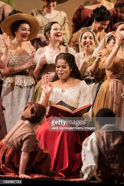 South African soprano Pretty Yende along with the company performs at the final dress rehearsal prior to the season premiere of the Metropolitan...