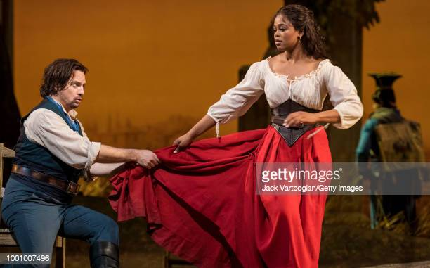South African soprano Pretty Yende and American tenor Matthew Polenzani perform at the final dress rehearsal prior to the season premiere of the...