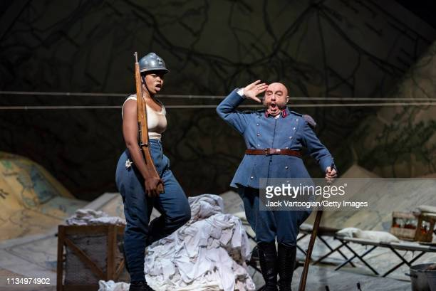 South African soprano Pretty Yende and Italian baritone Alessandro Corbelli perform during the final dress rehearsal prior to the season premiere of...