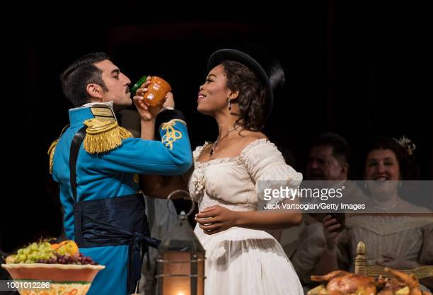 South African soprano Pretty Yende and Italian baritone Davide Luciano perform at the final dress rehearsal prior to the season premiere of the...