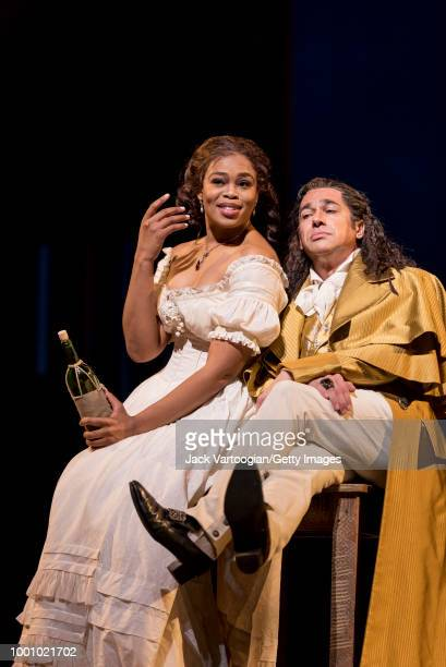 South African soprano Pretty Yende and Italian bass Ildebrando D'Arcangelo perform at the final dress rehearsal prior to the season premiere of the...
