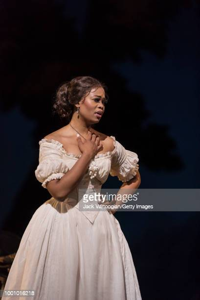 South African soprano Pretty Yende performs at the final dress rehearsal prior to the season premiere of the Metropolitan Opera/Bartlett Sher...