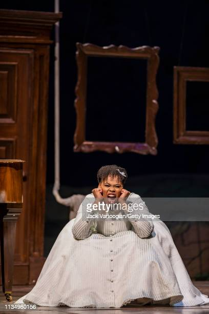 South African soprano Pretty Yende performs during the final dress rehearsal prior to the season premiere of the Metropolitan Opera/Laurent Pelly...