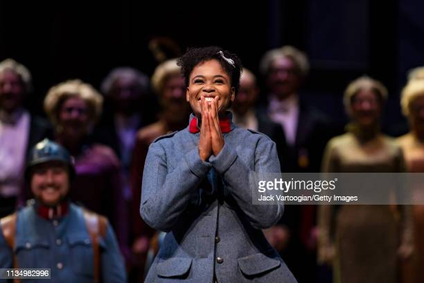 South African soprano Pretty Yende takes a bow at the final dress rehearsal prior to the season premiere of the Metropolitan Opera/Laurent Pelly...