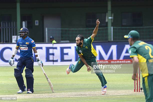 South African spin bowler Imran Tahir bowls during their One Day International cricket match against Sri Lanka at St George's Park on January 28 in...