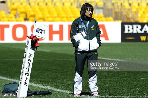 South African Springbok's Physiotherapist Rene Naylor looks on during the captain's run on September 16 2011 at the Wellington Regional Stadium...
