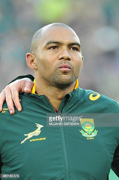 South African Springboks wing Cornal Hendricks stands during the National anthem ahead of a Rugby Championship Rugby union match against New Zealand...
