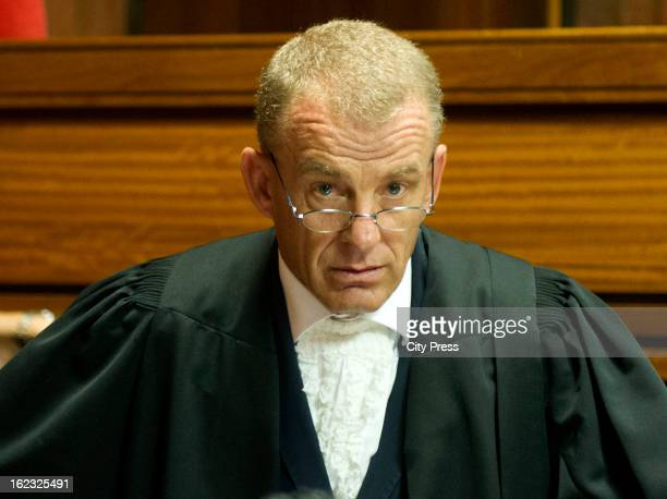 South African State Prosecutor, Advocate Gerrie Nel, in the Pretoria Magistrate Court during Oscar Pistorius's bail hearing on February 21, 2013 in...