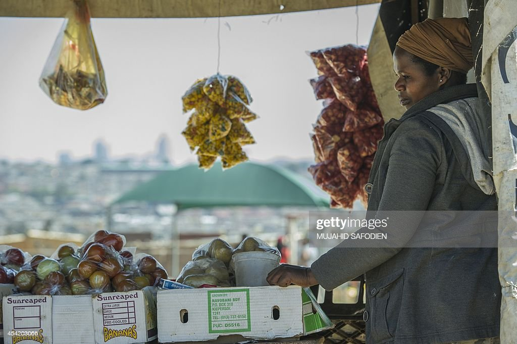 A South African street vendor awaits customers in Alexandra Township on the backdrop of the Sandton Towers, one of Africa's leading and most prestigious shopping centres, on August 26, 2014 in Johannesburg, South Africa. South Africa narrowly avoided slipping into recession in the first half of the year, thanks in part to election-time government spending, official data showed on Tuesday. Africa's most advanced economy had shrunk in the first quarter of the year by 0.6 percent, amid a mining strike that halted platinum production for five months.