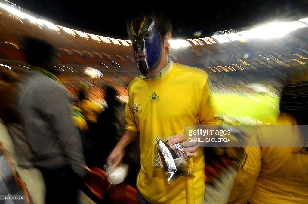 A South African supporter attends the international friendly football match between South Africa and Colombia at the Soccer City stadium in Soweto, Johannesburg on May 27, 2010. The 2010 FIFA World Cup football championship is due to take place in South Africa from June 11 to July 11 of 2010.