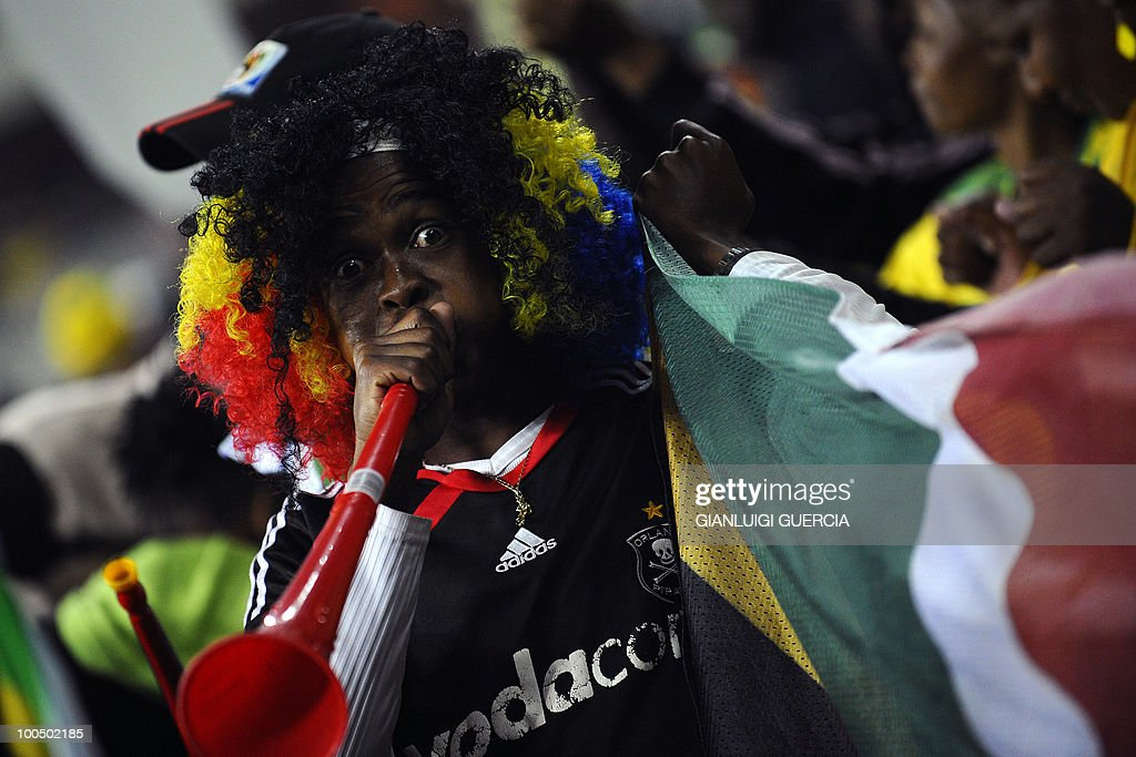 A South African supporter blows his vuvuzela ahead of their international friendly football match against Bulgaria at the Orlando stadium in Soweto, Johannesburg. on May 24, 2010. The 2010 FIFA World Cup football championship is due to take place in South Africa from June 11 to July 11 of 2010.