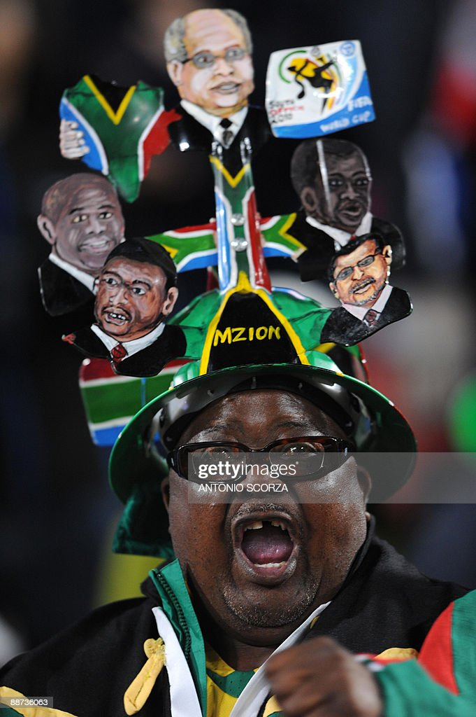 A South African supporter sings in the stands before the Fifa Confederations Cup final football match United States against Brazil on June 28, 2009 at the Ellis Park stadium in Johannesburg.