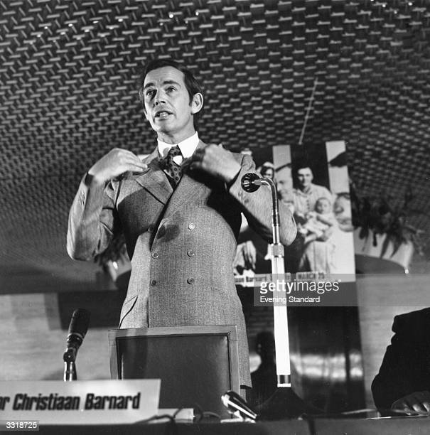 South African surgeon Christiaan Barnard who performed the first successful human heart transplant making an address