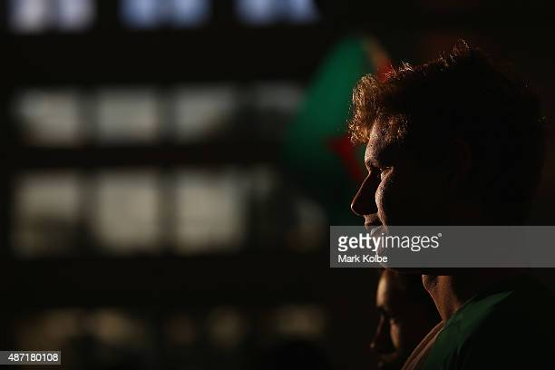 South African swimmer Zane Waddell watches on during the athletics competition at the Apia Park Sports Complex on day one of the Samoa 2015...