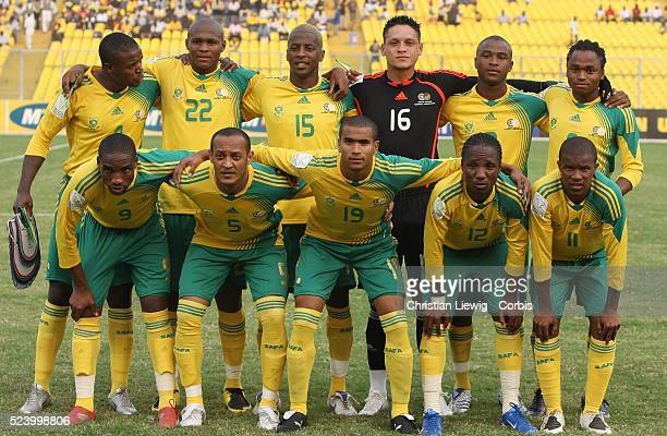 South African team before the CAF 2008 African Cup of Nations Group D match between Senegal and South Africa at the Baba Yara Stadium in Kumasi Ghana...