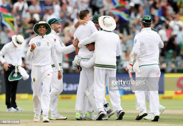 South African team celebrates during day 4 of the 3rd Sunfoil Test match between South Africa and Australia at PPC Newlands on March 25 2018 in Cape...