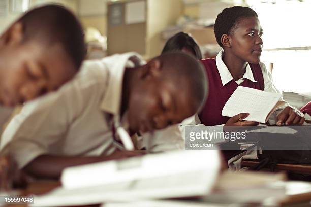 south african teenagers concentrating on an english exam - south african culture stock photos and pictures