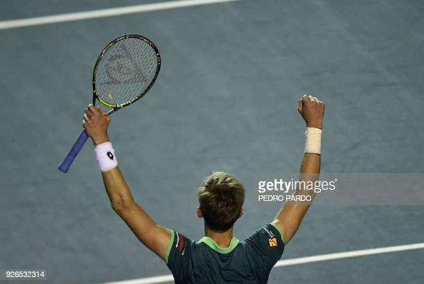 South African tennis player Kevin Anderson celebrates after beating US player Jared Donaldson during their Mexico ATP 500 Open men's single semifinal...