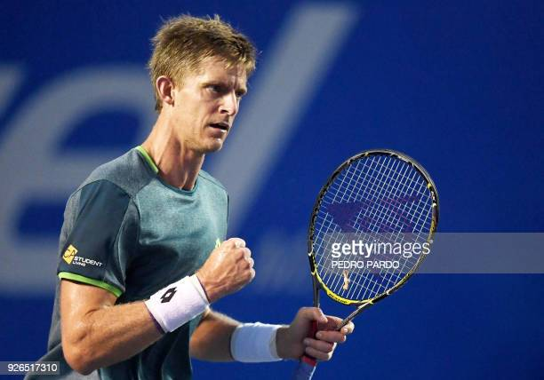 South African tennis player Kevin Anderson reacts, during their Mexico ATP 500 Open men's single semifinal tennis match against US player Jared...